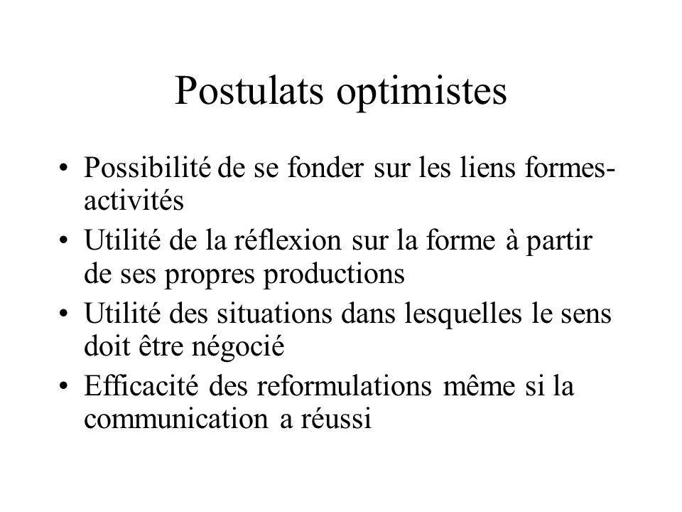 Postulats optimistes Possibilité de se fonder sur les liens formes- activités Utilité de la réflexion sur la forme à partir de ses propres productions