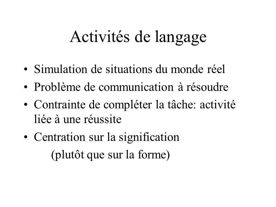 Activités de langage Simulation de situations du monde réel Problème de communication à résoudre Contrainte de compléter la tâche: activité liée à une