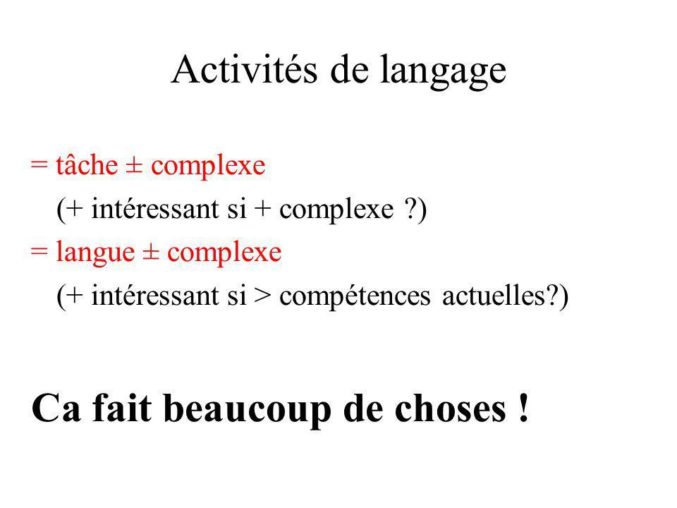 Activités de langage = tâche ± complexe (+ intéressant si + complexe ?) = langue ± complexe (+ intéressant si > compétences actuelles?) Ca fait beauco