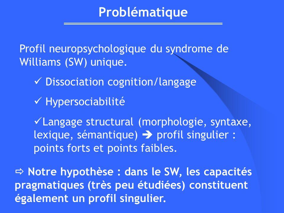 Profil neuropsychologique du syndrome de Williams (SW) unique. Dissociation cognition/langage Hypersociabilité Langage structural (morphologie, syntax
