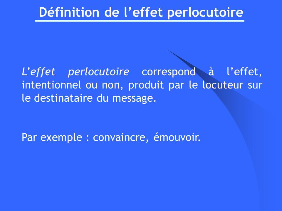 Définition de leffet perlocutoire Leffet perlocutoire correspond à leffet, intentionnel ou non, produit par le locuteur sur le destinataire du message.
