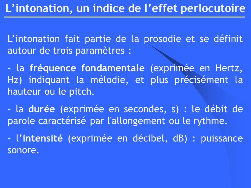 Lintonation, un indice de leffet perlocutoire Lintonation fait partie de la prosodie et se définit autour de trois paramètres : - la fréquence fondamentale (exprimée en Hertz, Hz) indiquant la mélodie, et plus précisément la hauteur ou le pitch.