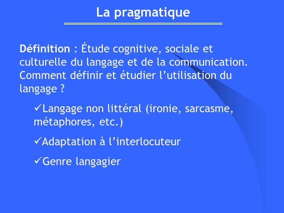 Définition : Étude cognitive, sociale et culturelle du langage et de la communication. Comment définir et étudier lutilisation du langage ? Langage no