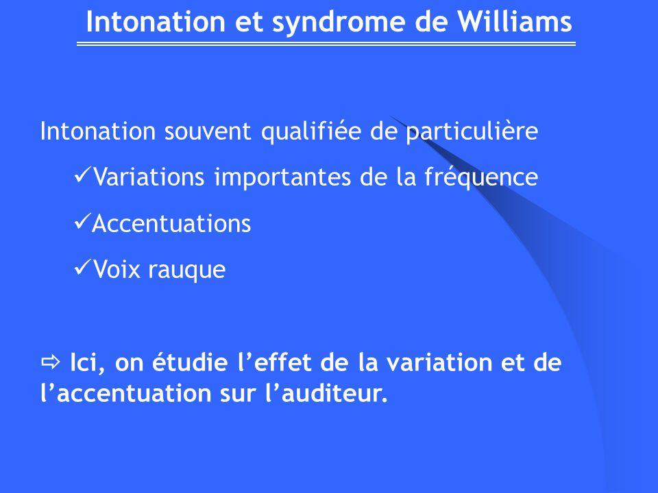 Intonation et syndrome de Williams Intonation souvent qualifiée de particulière Variations importantes de la fréquence Accentuations Voix rauque Ici, on étudie leffet de la variation et de laccentuation sur lauditeur.