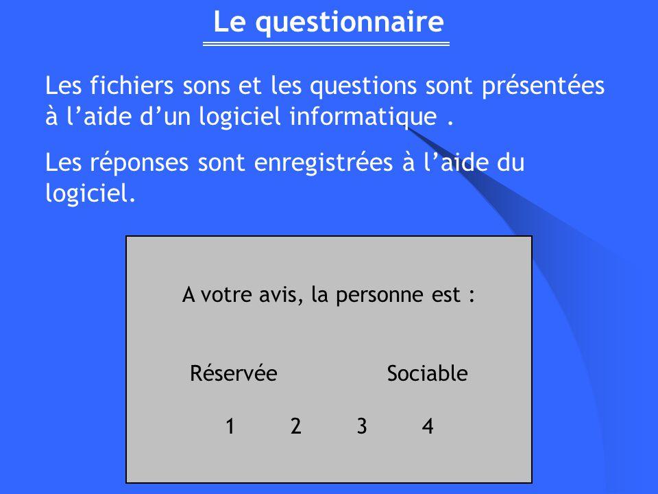 Le questionnaire Les fichiers sons et les questions sont présentées à laide dun logiciel informatique. Les réponses sont enregistrées à laide du logic