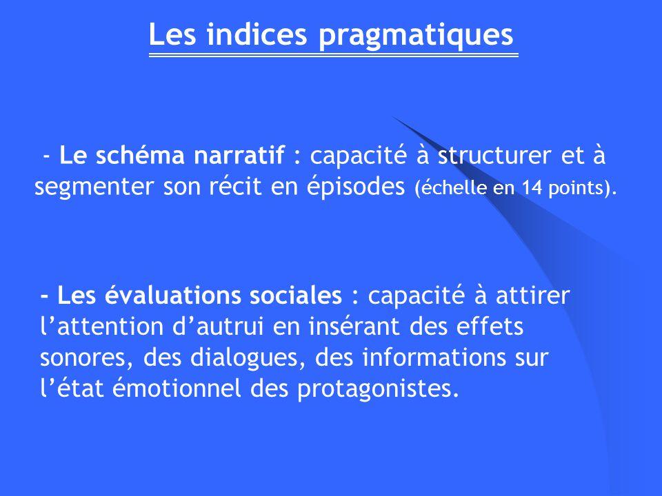 Les indices pragmatiques - Le schéma narratif : capacité à structurer et à segmenter son récit en épisodes (échelle en 14 points). - Les évaluations s