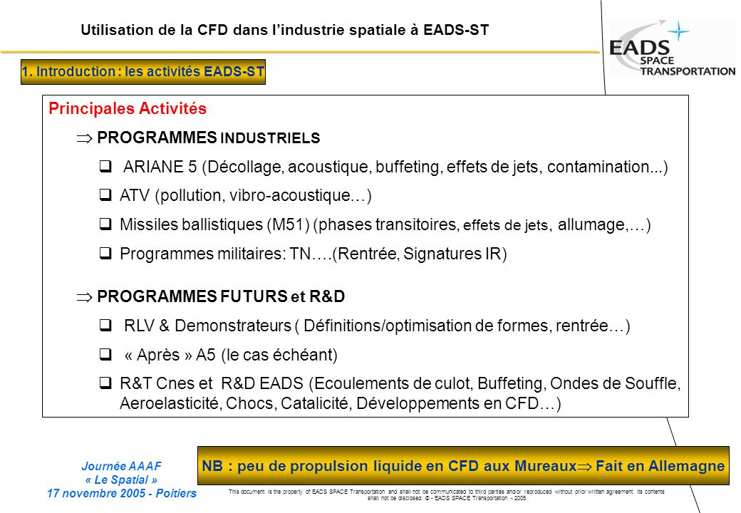 Journée AAAF « Le Spatial » 17 novembre 2005 - Poitiers This document is the property of EADS SPACE Transportation and shall not be communicated to th