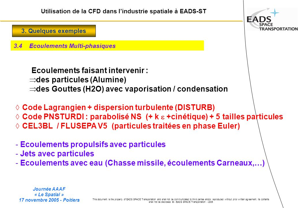 Journée AAAF « Le Spatial » 17 novembre 2005 - Poitiers This document is the property of EADS SPACE Transportation and shall not be communicated to third parties and/or reproduced without prior written agreement.