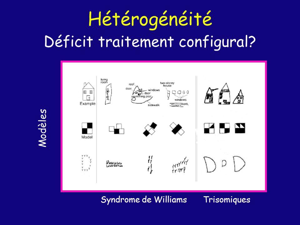 Déficit traitement configural? Modèles Syndrome de Williams Trisomiques Hétérogénéité