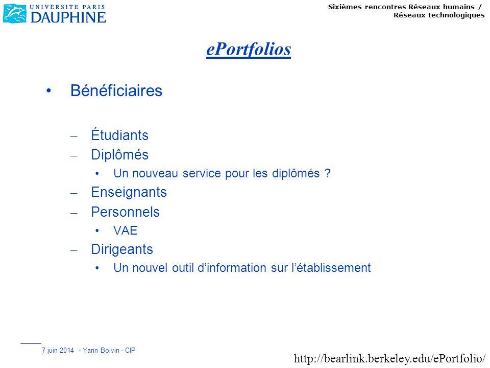 Sixièmes rencontres Réseaux humains / Réseaux technologiques 7 juin 2014 - Yann Boivin - CIP ePortfolios Bénéficiaires – Étudiants – Diplômés Un nouve