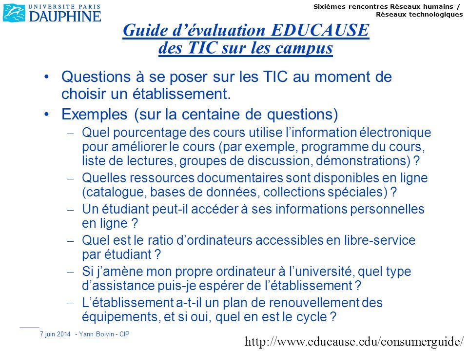 Sixièmes rencontres Réseaux humains / Réseaux technologiques 7 juin 2014 - Yann Boivin - CIP Guide dévaluation EDUCAUSE des TIC sur les campus Questio