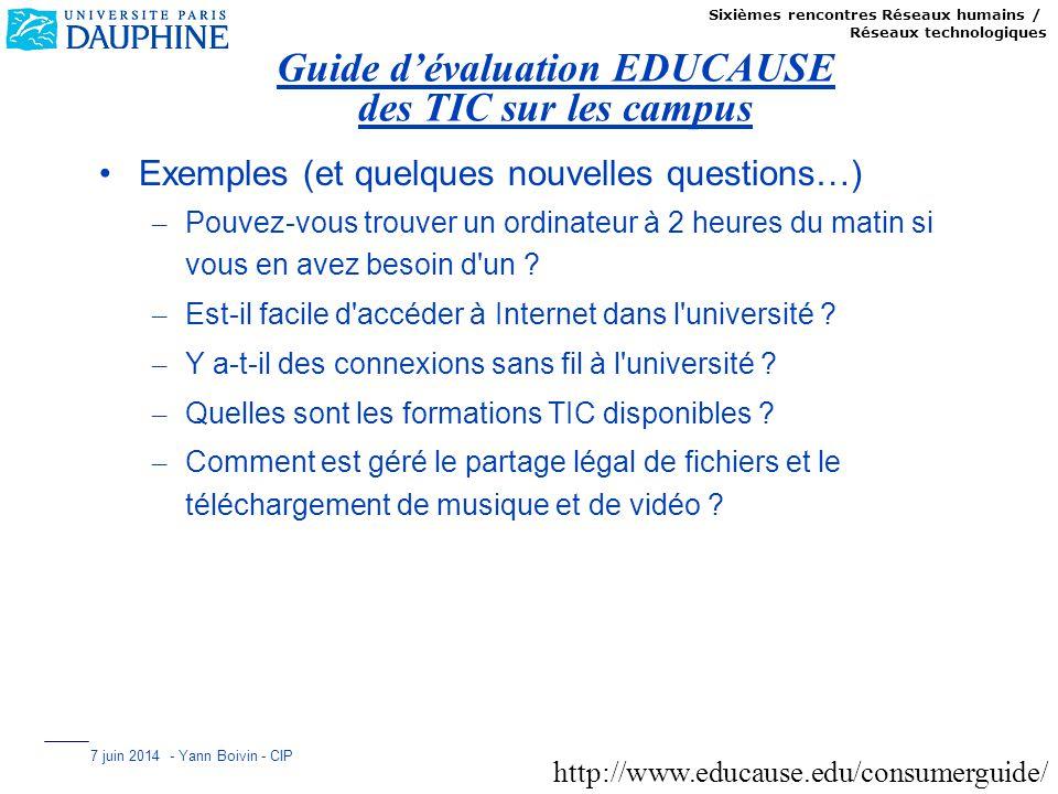 Sixièmes rencontres Réseaux humains / Réseaux technologiques 7 juin 2014 - Yann Boivin - CIP Guide dévaluation EDUCAUSE des TIC sur les campus Exemple