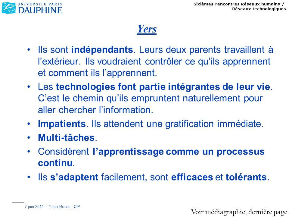 Sixièmes rencontres Réseaux humains / Réseaux technologiques 7 juin 2014 - Yann Boivin - CIP Yers Ils sont indépendants. Leurs deux parents travaillen