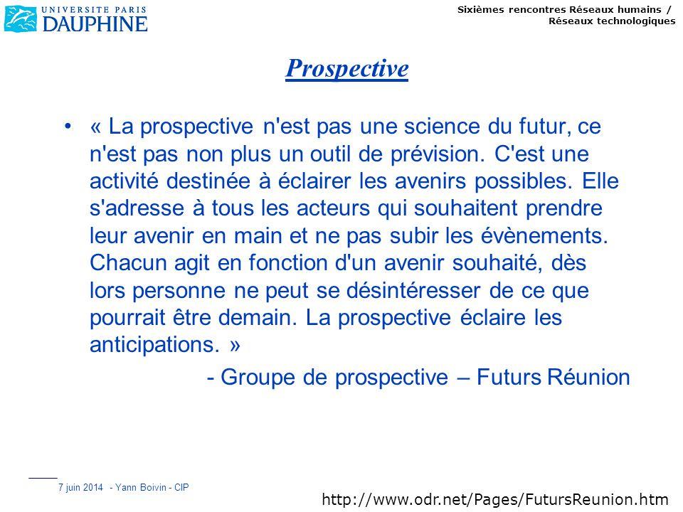 Sixièmes rencontres Réseaux humains / Réseaux technologiques 7 juin 2014 - Yann Boivin - CIP Prospective « La prospective n'est pas une science du fut