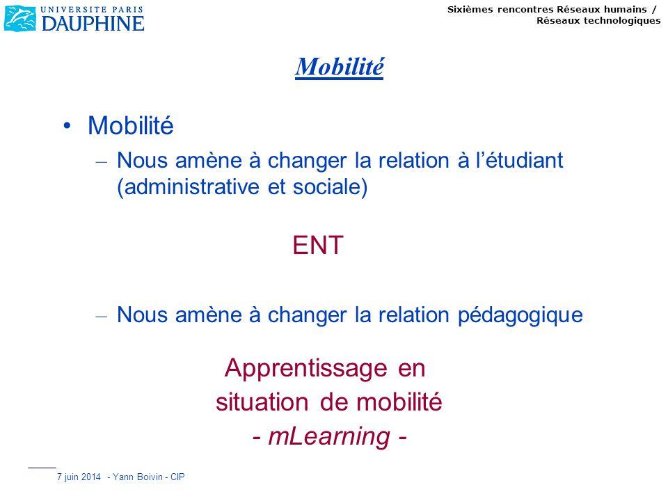Sixièmes rencontres Réseaux humains / Réseaux technologiques 7 juin 2014 - Yann Boivin - CIP Mobilité – Nous amène à changer la relation à létudiant (