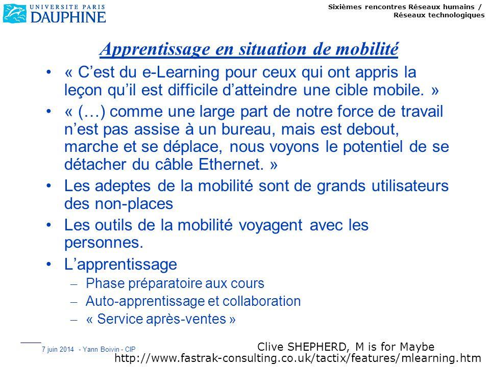 Sixièmes rencontres Réseaux humains / Réseaux technologiques 7 juin 2014 - Yann Boivin - CIP Apprentissage en situation de mobilité « Cest du e-Learni