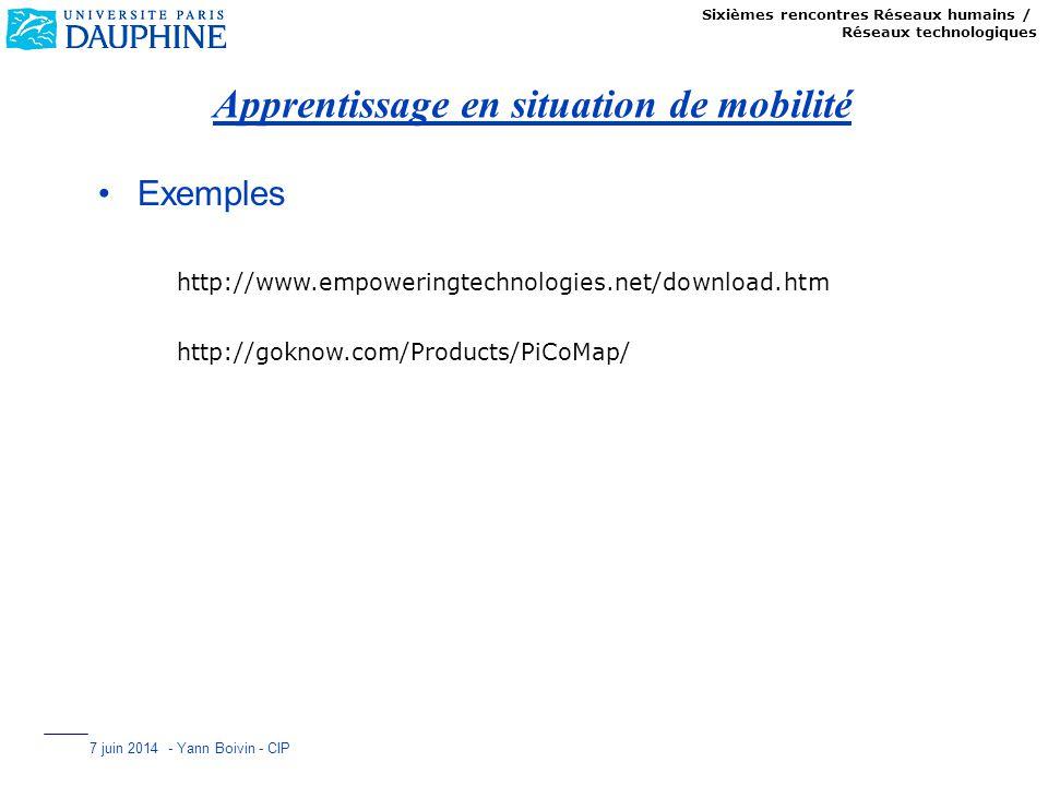 Sixièmes rencontres Réseaux humains / Réseaux technologiques 7 juin 2014 - Yann Boivin - CIP Apprentissage en situation de mobilité Exemples http://ww
