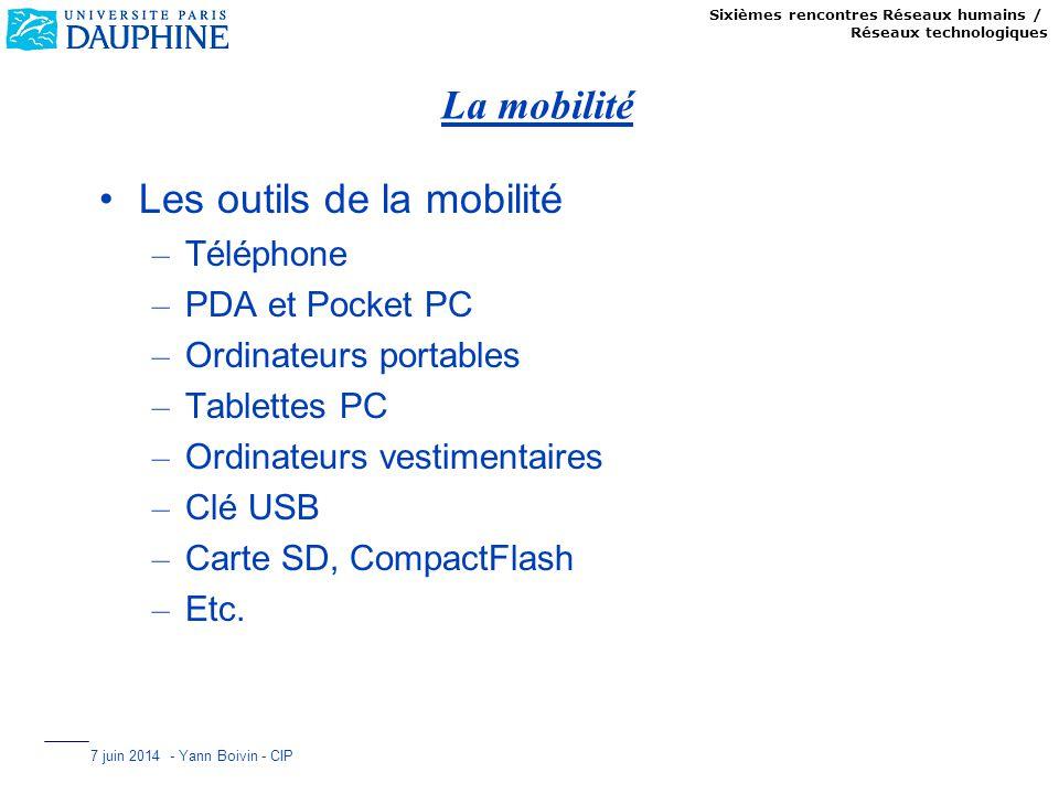 Sixièmes rencontres Réseaux humains / Réseaux technologiques 7 juin 2014 - Yann Boivin - CIP La mobilité Les outils de la mobilité – Téléphone – PDA e