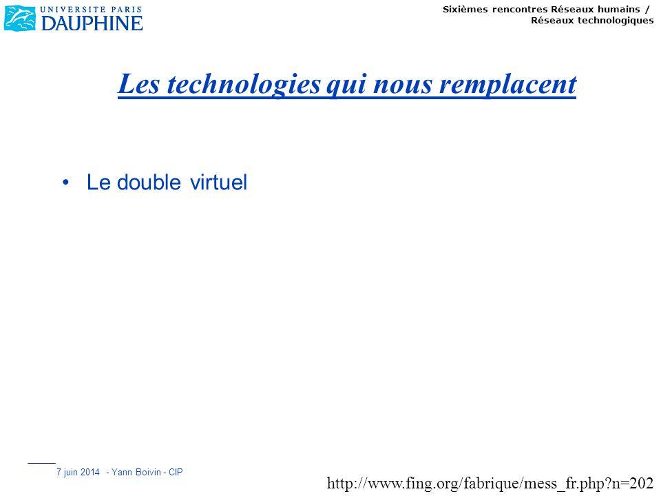 Sixièmes rencontres Réseaux humains / Réseaux technologiques 7 juin 2014 - Yann Boivin - CIP Les technologies qui nous remplacent Le double virtuel ht