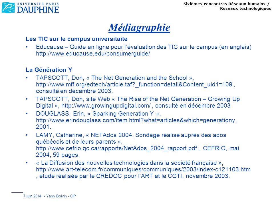 Sixièmes rencontres Réseaux humains / Réseaux technologiques 7 juin 2014 - Yann Boivin - CIP Médiagraphie Les TIC sur le campus universitaite Educause