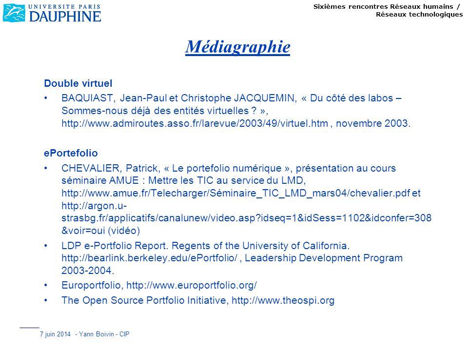 Sixièmes rencontres Réseaux humains / Réseaux technologiques 7 juin 2014 - Yann Boivin - CIP Médiagraphie Double virtuel BAQUIAST, Jean-Paul et Christ