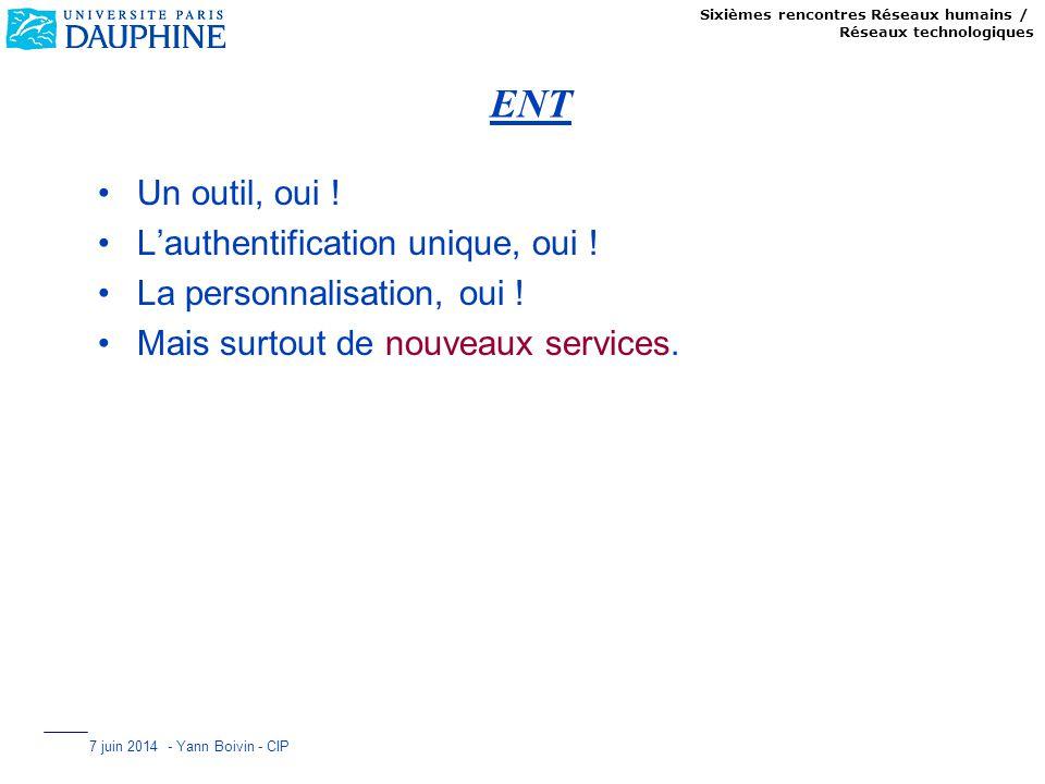 Sixièmes rencontres Réseaux humains / Réseaux technologiques 7 juin 2014 - Yann Boivin - CIP ENT Un outil, oui ! Lauthentification unique, oui ! La pe