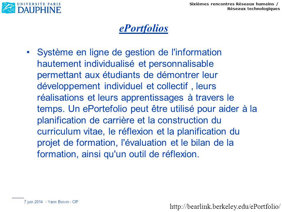 Sixièmes rencontres Réseaux humains / Réseaux technologiques 7 juin 2014 - Yann Boivin - CIP ePortfolios Système en ligne de gestion de l'information