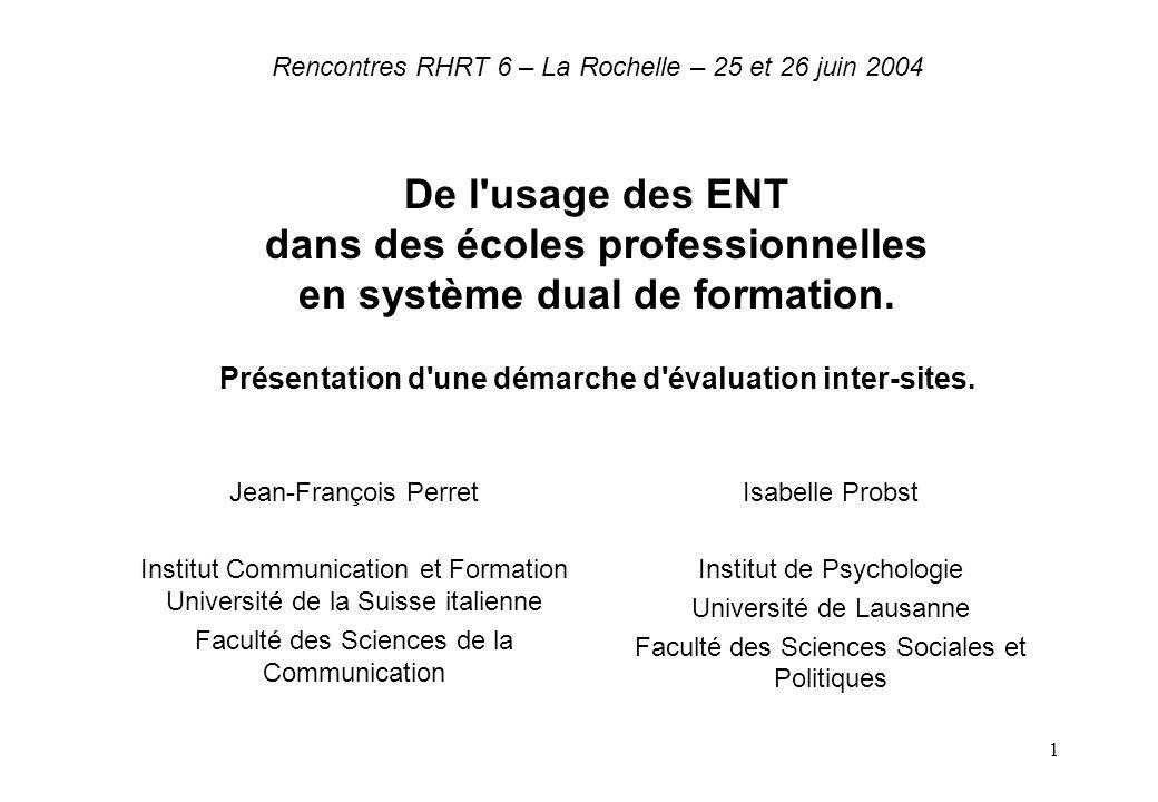 1 Rencontres RHRT 6 – La Rochelle – 25 et 26 juin 2004 De l'usage des ENT dans des écoles professionnelles en système dual de formation. Présentation