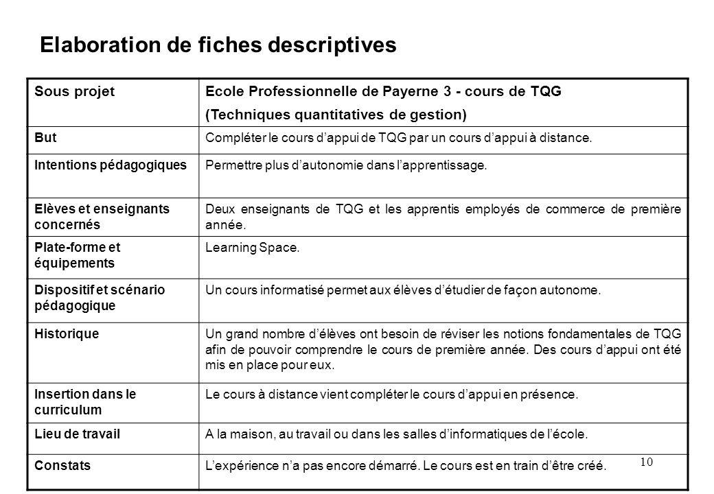 10 Elaboration de fiches descriptives Sous projetEcole Professionnelle de Payerne 3 - cours de TQG (Techniques quantitatives de gestion) ButCompléter