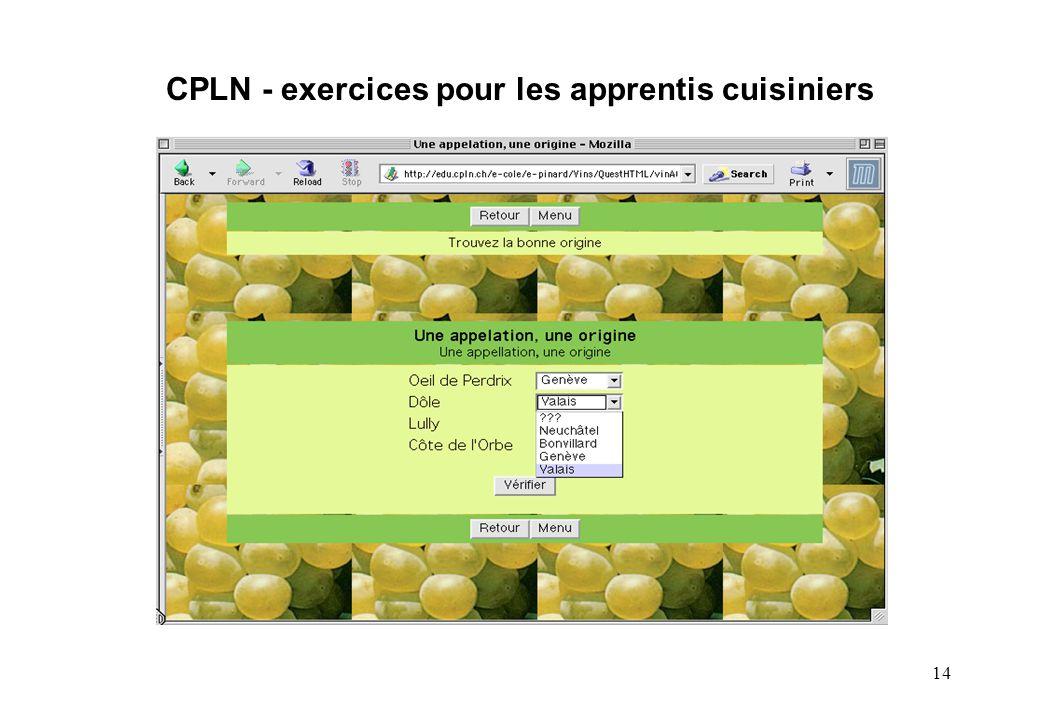 14 CPLN - exercices pour les apprentis cuisiniers