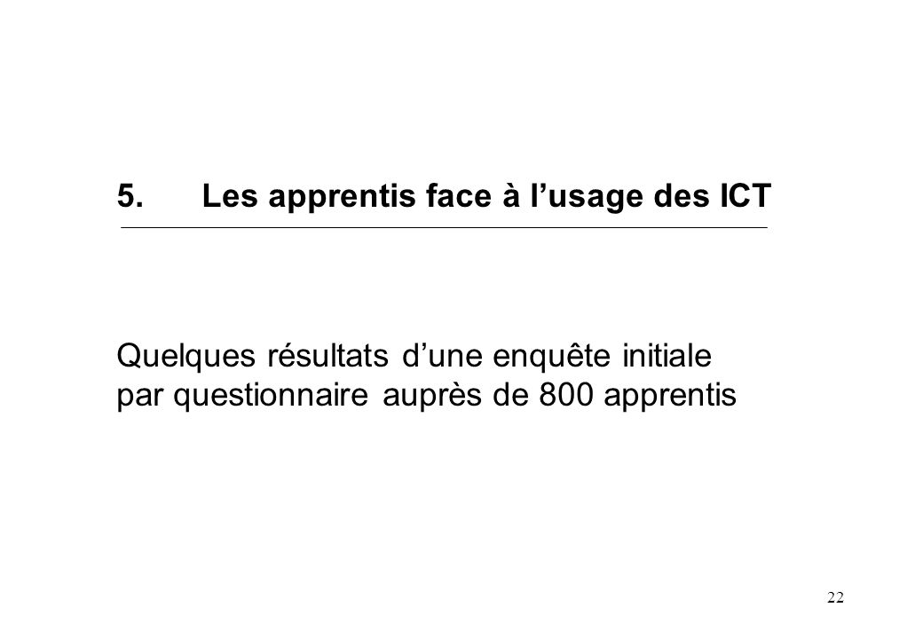 22 5.Les apprentis face à lusage des ICT Quelques résultats dune enquête initiale par questionnaire auprès de 800 apprentis