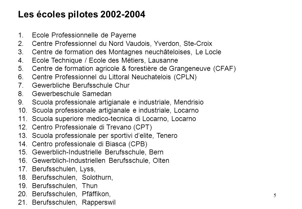 5 Les écoles pilotes 2002-2004 1.Ecole Professionnelle de Payerne 2.Centre Professionnel du Nord Vaudois, Yverdon, Ste-Croix 3.Centre de formation des