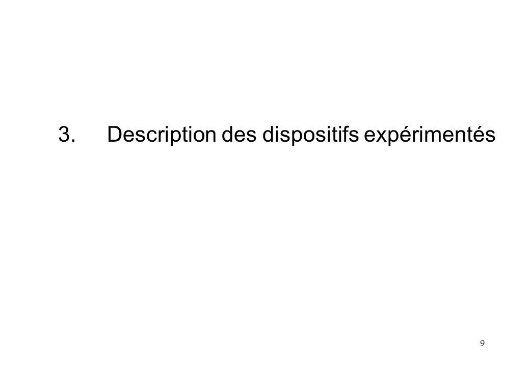 9 3.Description des dispositifs expérimentés