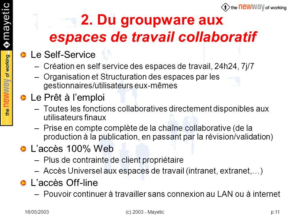 16/05/2003(c) 2003 - Mayeticp.11 2. Du groupware aux espaces de travail collaboratif Le Self-Service –Création en self service des espaces de travail,