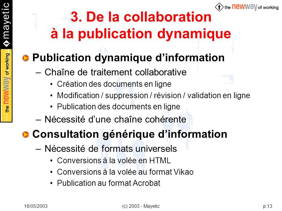 16/05/2003(c) 2003 - Mayeticp.13 3. De la collaboration à la publication dynamique Publication dynamique dinformation –Chaîne de traitement collaborat