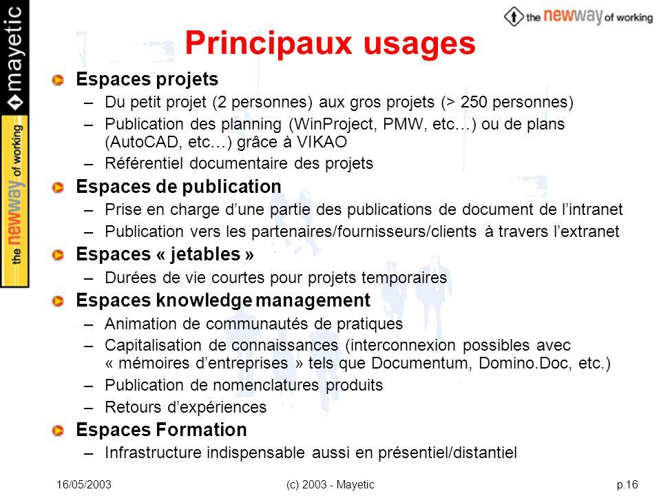 16/05/2003(c) 2003 - Mayeticp.16 Principaux usages Espaces projets –Du petit projet (2 personnes) aux gros projets (> 250 personnes) –Publication des