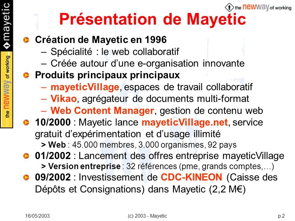 16/05/2003(c) 2003 - Mayeticp.2 Création de Mayetic en 1996 –Spécialité : le web collaboratif –Créée autour dune e-organisation innovante Produits pri