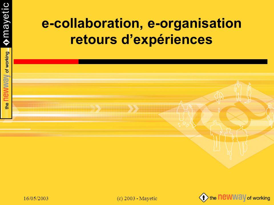 16/05/2003(c) 2003 - Mayetic e-collaboration, e-organisation retours dexpériences