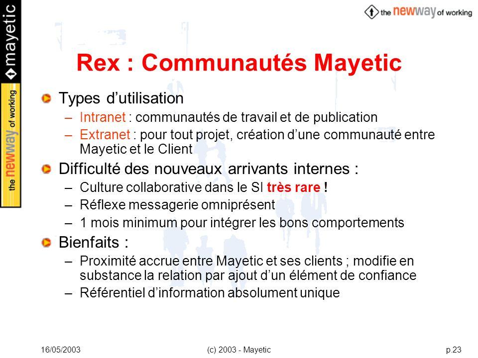 16/05/2003(c) 2003 - Mayeticp.23 Rex : Communautés Mayetic Types dutilisation –Intranet : communautés de travail et de publication –Extranet : pour to