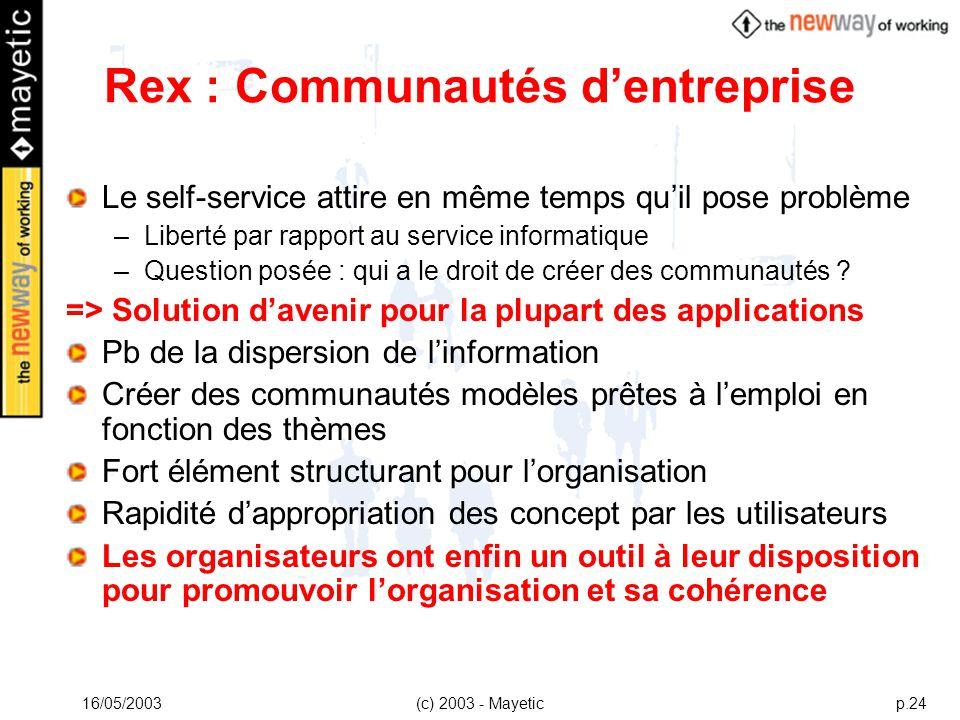 16/05/2003(c) 2003 - Mayeticp.24 Rex : Communautés dentreprise Le self-service attire en même temps quil pose problème –Liberté par rapport au service