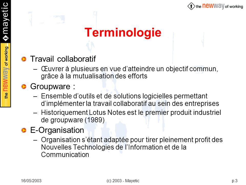 16/05/2003(c) 2003 - Mayeticp.3 Terminologie Travail collaboratif –Œuvrer à plusieurs en vue datteindre un objectif commun, grâce à la mutualisation d