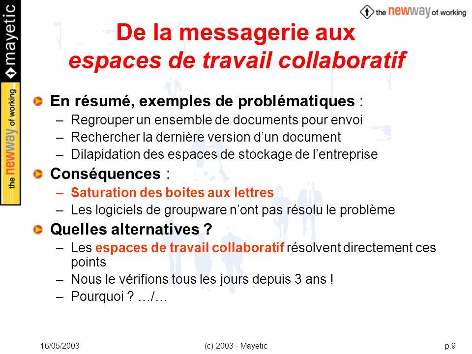 16/05/2003(c) 2003 - Mayeticp.9 De la messagerie aux espaces de travail collaboratif En résumé, exemples de problématiques : –Regrouper un ensemble de