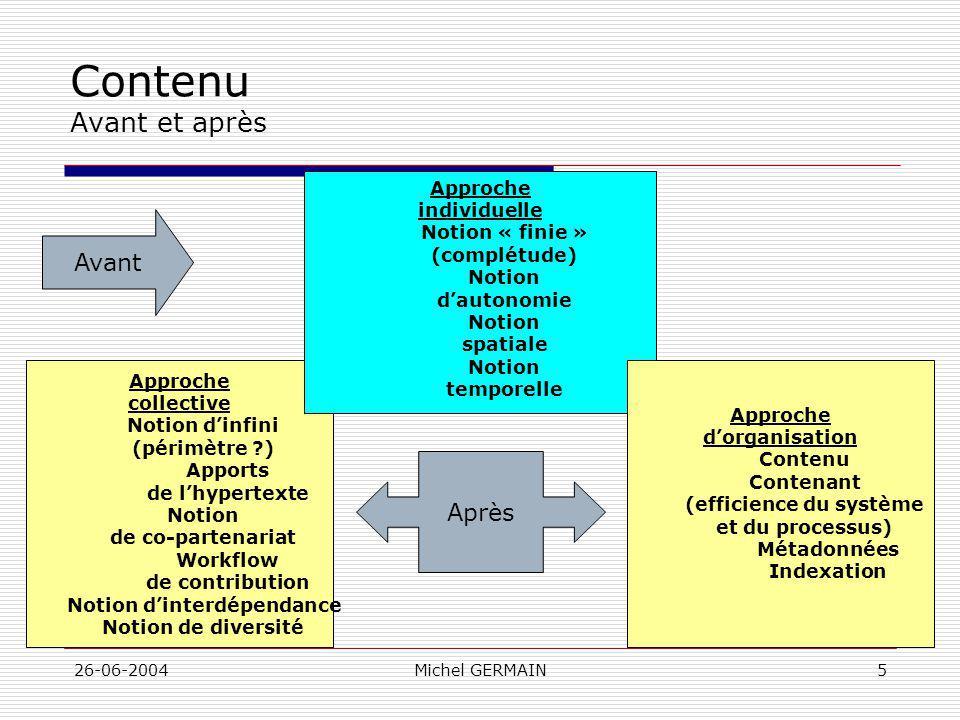 26-06-2004Michel GERMAIN5 Contenu Avant et après Approche collective Notion dinfini (périmètre ?) Apports de lhypertexte Notion de co-partenariat Work
