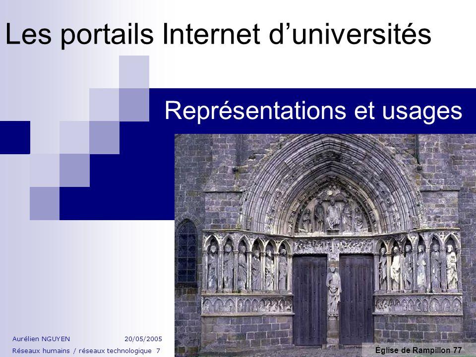 Les portails Internet duniversités Représentations et usages Église de Rampillon 77 Aurélien NGUYEN20/05/2005 Réseaux humains / réseaux technologique 7