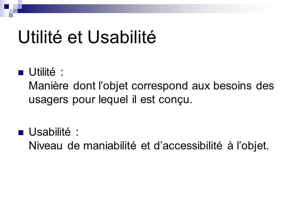Utilité et Usabilité Utilité : Manière dont lobjet correspond aux besoins des usagers pour lequel il est conçu.