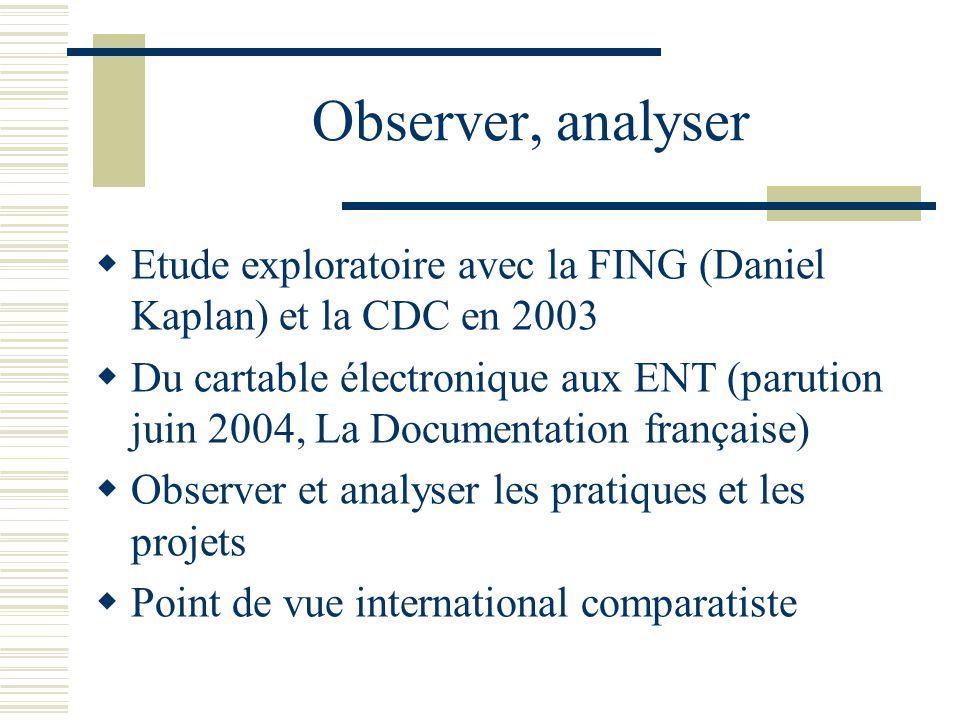 Observer, analyser Etude exploratoire avec la FING (Daniel Kaplan) et la CDC en 2003 Du cartable électronique aux ENT (parution juin 2004, La Document