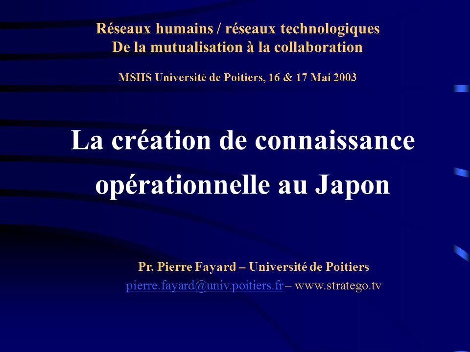 La création de connaissance opérationnelle au Japon Pr.