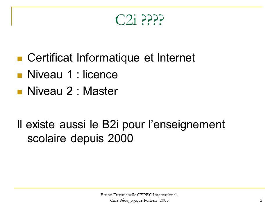 Bruno Devauchelle CEPEC International - Café Pédagogique Poitiers 2005 2 C2i .