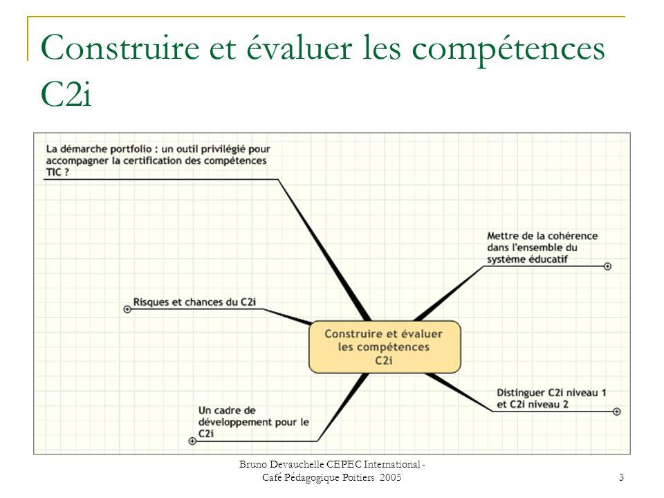 Bruno Devauchelle CEPEC International - Café Pédagogique Poitiers 2005 3 Construire et évaluer les compétences C2i