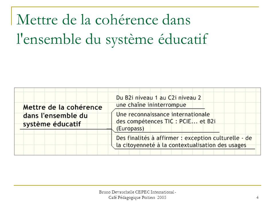 Bruno Devauchelle CEPEC International - Café Pédagogique Poitiers 2005 4 Mettre de la cohérence dans l ensemble du système éducatif